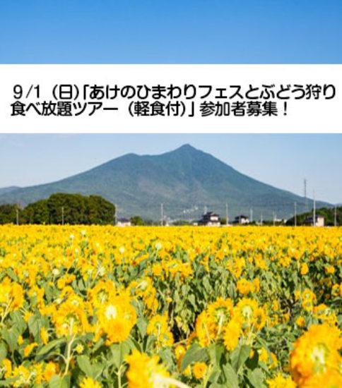 9/1(日)「あけのひまわりフェスティバルとぶどう狩り食べ放題ポタリング」参加者募集!